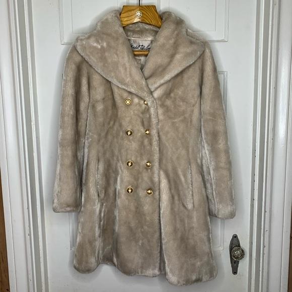 Vintage Jackets & Blazers - Vintage Faux Fur Double Breasted Car Coat